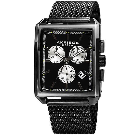 Akribos XXIV Unisex Adult Multi-Function Black Stainless Steel Strap Watch-A-918bk