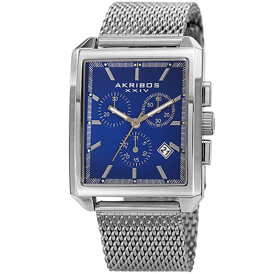 Akribos XXIV Unisex Adult Multi-Function Silver Tone Stainless Steel Strap Watch-A-918ssbu
