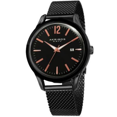 Akribos XXIV Unisex Black Strap Watch-A-920bk