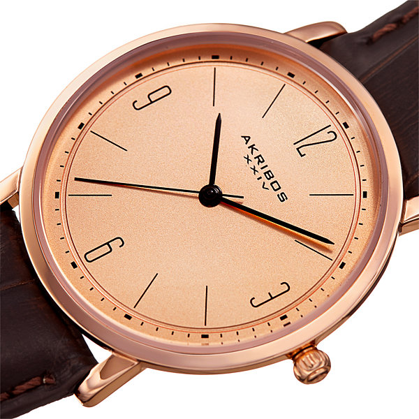Akribos XXIV Unisex Brown Strap Watch-A-922brrg