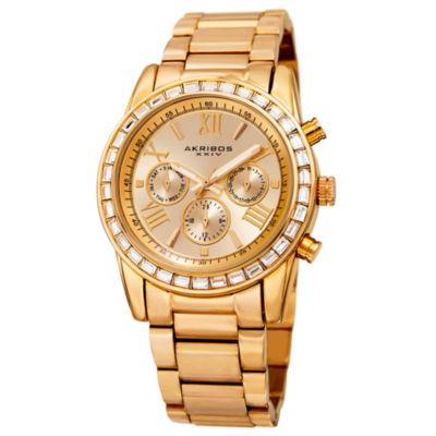 Akribos XXIV Unisex Gold Tone Bracelet Watch-A-943yg