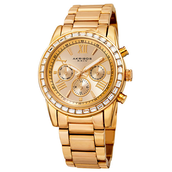 Akribos XXIV Set With Swarovski Crystals Unisex Adult Crystal Accent Gold Tone Bracelet Watch-A-943yg