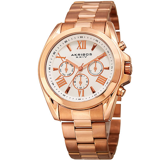 Akribos XXIV Unisex Adult Multi-Function Rose Goldtone Stainless Steel Bracelet Watch-A-951rg