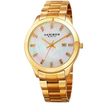 Akribos XXIV Unisex Gold Tone Bracelet Watch-A-954yg