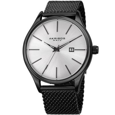 Akribos XXIV Unisex Black Strap Watch-A-959bk