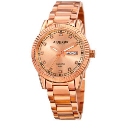 Akribos XXIV Unisex Rose Goldtone Bracelet Watch-A-965rg