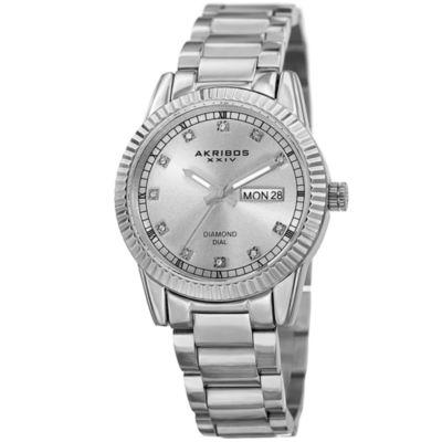 Akribos XXIV Unisex Silver Tone Bracelet Watch-A-965ss