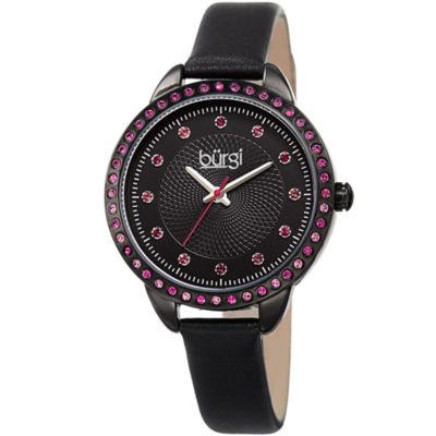 Burgi Unisex Black Strap Watch-B-161bk