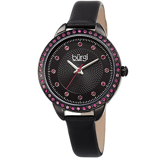Burgi Set With Swarovski Crystals Unisex Adult Crystal Accent Black Leather Strap Watch-B-161bk