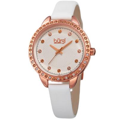 Burgi Unisex White Strap Watch-B-161wt