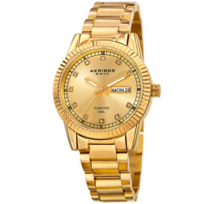 Akribos XXIV Unisex Gold Tone Bracelet Watch-A-965yg