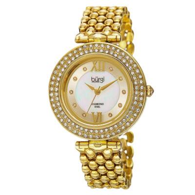 Burgi Unisex Gold Tone Bracelet Watch-B-126yg