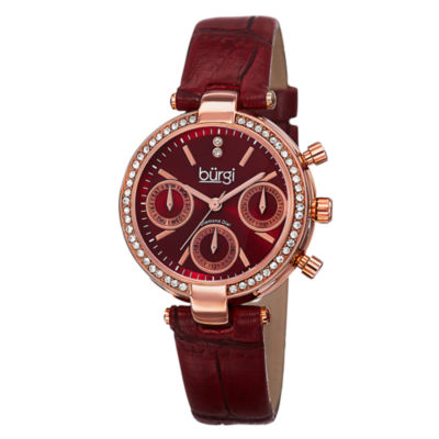 Burgi Unisex Red Strap Watch-B-129rd