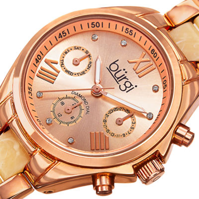 Burgi Unisex Rose Goldtone Bracelet Watch-B-130rgw