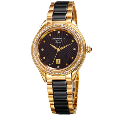 Akribos XXIV Unisex Gold Tone Bracelet Watch-A-977ygbk
