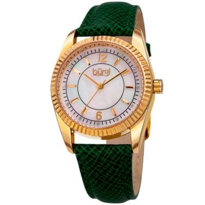 Burgi Unisex Green Strap Watch-B-167gn