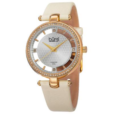 Burgi Unisex White Strap Watch-B-104wtg