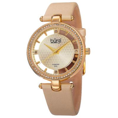 Burgi Unisex White Strap Watch-B-104yg