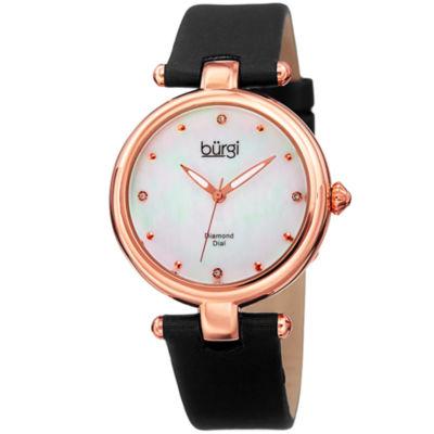 Burgi Unisex Black Strap Watch-B-169bk