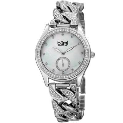 Burgi Unisex Silver Tone Bracelet Watch-B-177ss