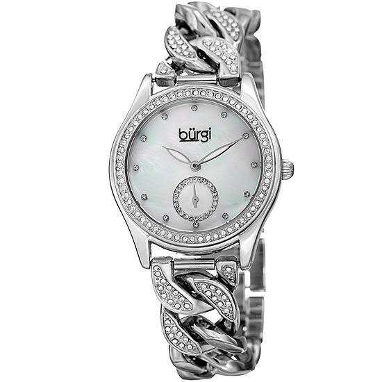 Burgi Set With Swarovski Crystals Unisex Adult Crystal Accent Silver Tone Bracelet Watch-B-177ss