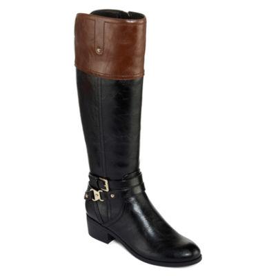 Liz Claiborne Womens Tory Riding Boots Flat Heel Zip Wide