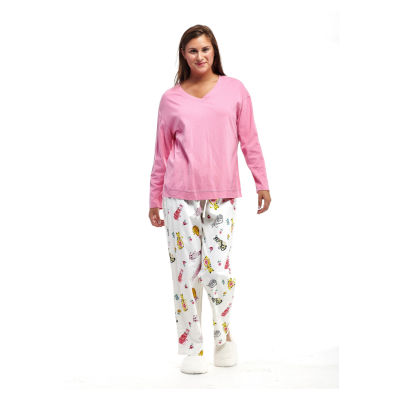 La Cera Plus-Size Knitted Flannel PJs - Plus
