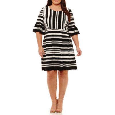 Studio 1 3/4 Sleeve Stripe Fit & Flare Dress-Plus