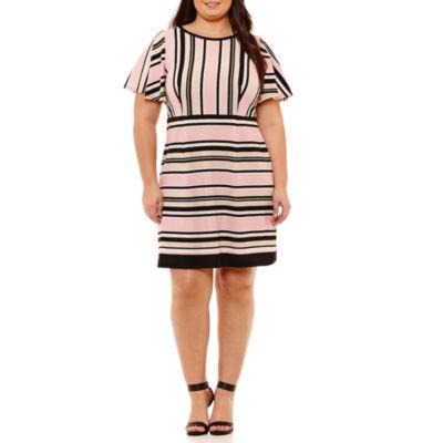 R & K Originals Elbow Sleeve Stripe Fit & Flare Dress - Plus
