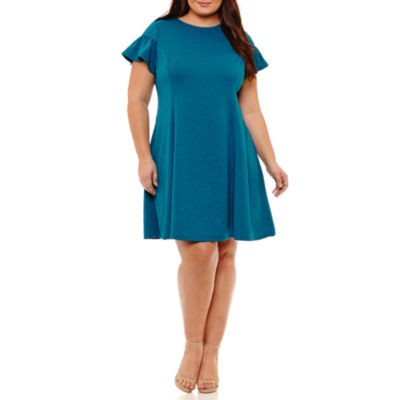 Maggy London Intl Short Sleeve Fit & Flare Dress-Plus