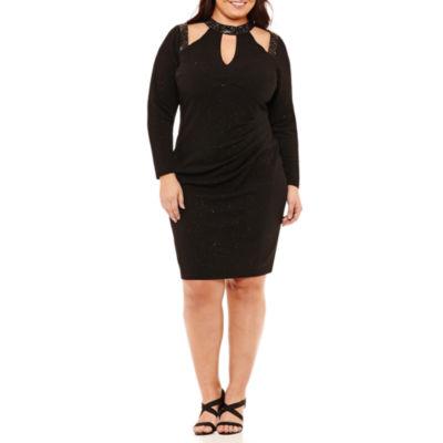 Blu Sage Long Sleeve Beaded Sheath Dress-Plus