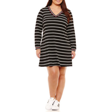 R & K Originals Long Sleeve Stripe Shift Dress - Plus
