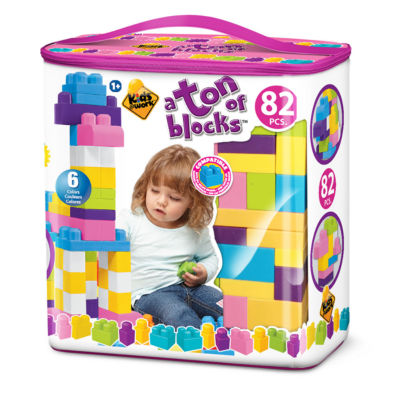 Amloid - Kids at Work 82 Piece Tote of Blocks, Girl Style