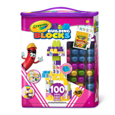 Crayola Kids at Work - 100 Piece Tote of Blocks, Girl Version