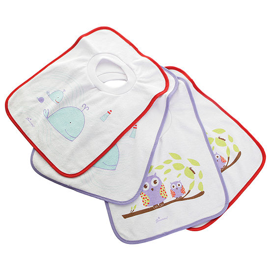 Dreambaby® Terry Cloth Pull Over Bibs 4 Pack Owls & Whales