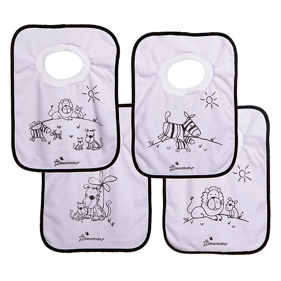 Dreambaby® Terry Cloth Pull Over Bibs 4 Pack Jungle