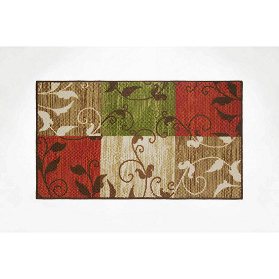 Modern Living Leaf Vine Squares Decorative Rectangular Accent Rug