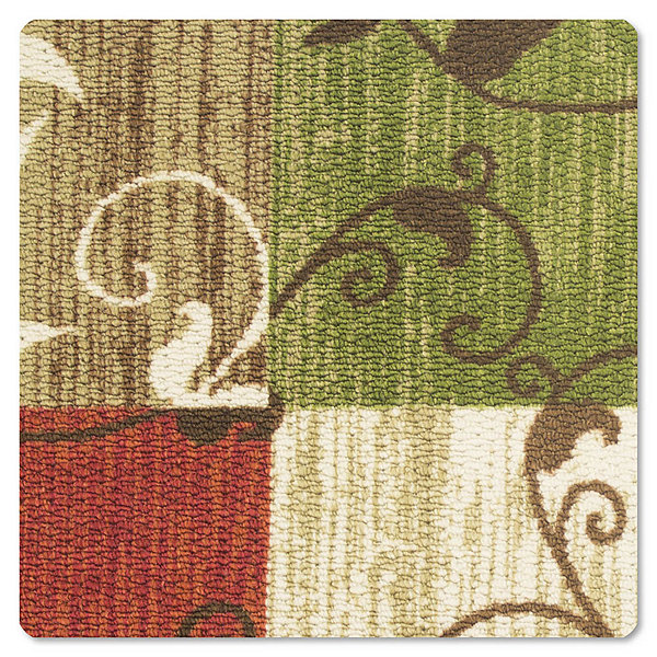 Modern Living Leaf Vine Squares Decorative Rectangular Accent Rug