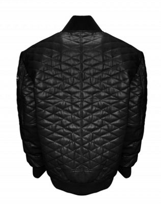 Double Diamond Leather Bomber Jacket