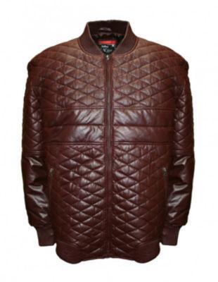 Double Diamond Leather Bomber Jacket - Big & Tall