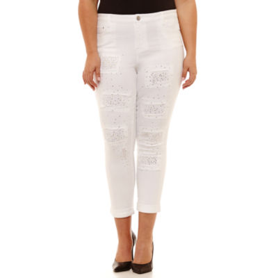 Almost Famous Skinny Fit White Sequin Jean-Juniors