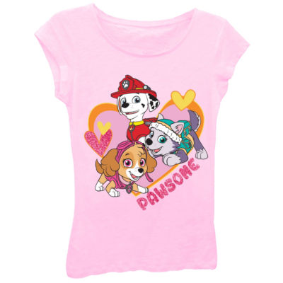 "Paw Patrol Girls' ""Pawsome"" Heart Short Sleeve Graphic T-Shirt with Pink Glitter"