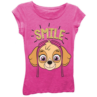 "Paw Patrol Girls' Skye ""Smile"" Short Sleeve Graphic T-Shirt with Gold Glitter"