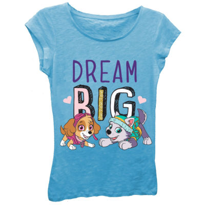 "Paw Patrol Girls' ""Dream Big"" Short Sleeve Graphic T-Shirt with Gold Glitter"