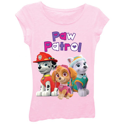 Paw Patrol Girls' Bubble Heart Logo with Marshall, Skye and Everest Short Sleeve Graphic T-Shirt with Crystalline