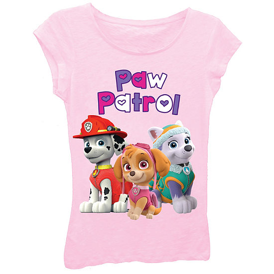 afee4a54 Paw Patrol Girls Bubble Heart Logo with Marshall Skye and Everest Short  Sleeve Graphic T Shirt with Crystalline JCPenney