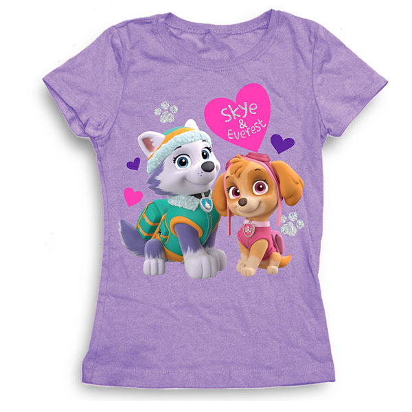 Paw Patrol Girls' Skye and Everest with Hearts Short Sleeve Graphic T-Shirt with Silver Glitter