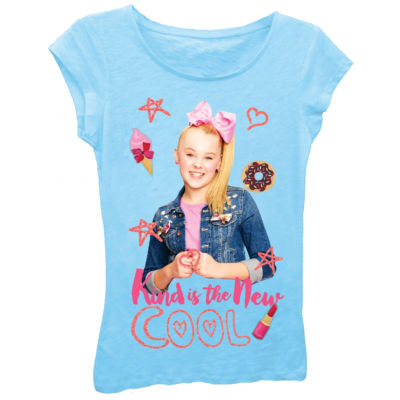 "JoJo Siwa Girls' ""Kind is the New Cool"" Short Sleeve Graphic T-Shirt with Pink Glitter"
