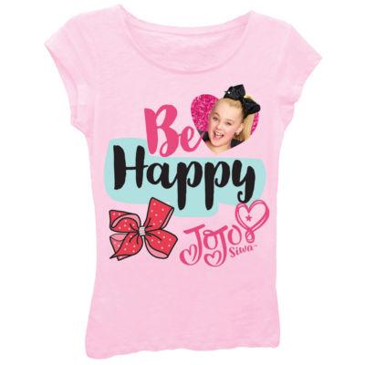 """JoJo Siwa Girls' """"Be Happy"""" Short Sleeve Graphic T-Shirt with Magenta Glitter"""