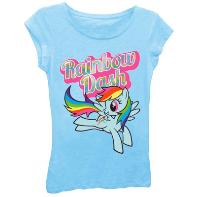My Little Pony Girls' Rainbow Dash Flying Short Sleeve Graphic T-Shirt with Oil Slick Ink